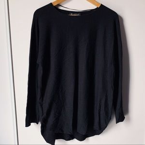 Black long sleeve oversize long tunic sweater